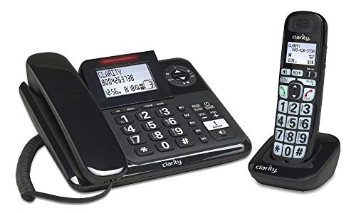 Clarity 53727 DECT 6.0 E814CC Amplified 40dB Cord/Cordless Combo Unit Phone, Black (53727.1)
