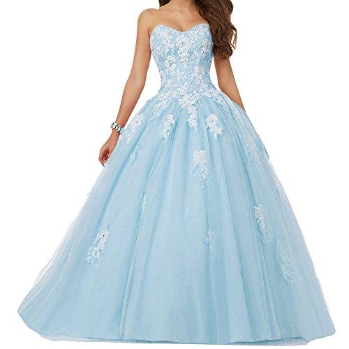 JAEDEN Damen Quinceanera Kleider mit Spitze Abendkleider Lang Hochzeitskleider Elegant Ballkleid Blau EUR40