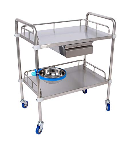 I will take action now 2-stufiger medizinischer Trolley-Edelstahl-Behandlungswagen/medizinisches Laborgerätewagen/Schönheitssalon-Werkzeugwagen , L50xW40xH86cm