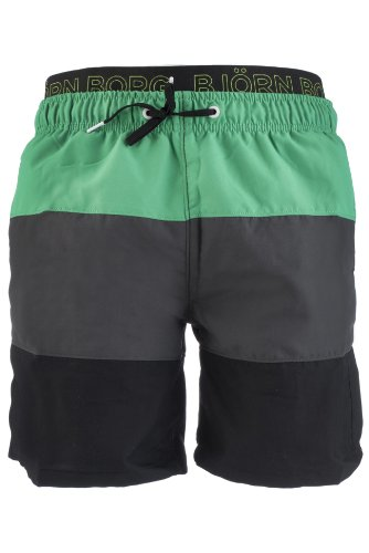 Björn Borg Herren Colourblocked Basic Woven Locker sitzende gewebte Shorts mit Breiten Streifen – Helles Grün, Large, hellgrün, L/XL