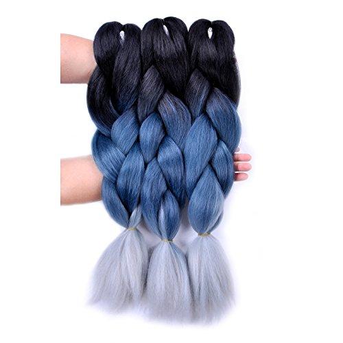 Jumbo Braiding Hair Ombre 3pcs (Black/ Grey Blue/Silver Grey) Jumbo Braid Hair Extension Ombre Colors For Crochet Braids Hair