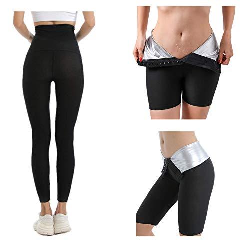 Sauna Sweat Shapewear Shorts Cintura Alta para Mujeres Pantalones Adelgazamiento,Fajas Control de Barriga Cortos Neopreno adelgazantes para Entrenador Cintura Sudor Yoga (9-point pants, 2XL)