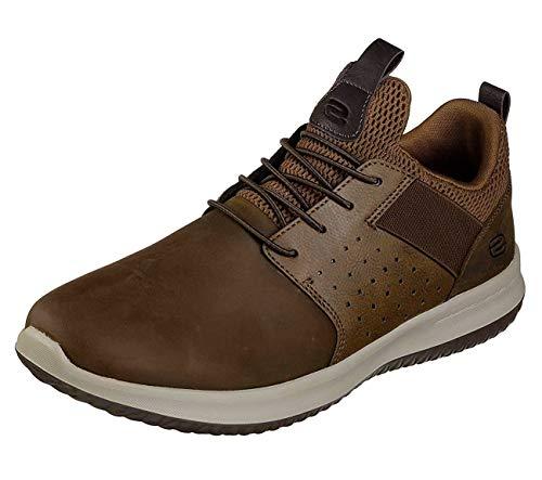 Skechers mens Delson - Axton Sneaker, Dark Brown, 10.5 US