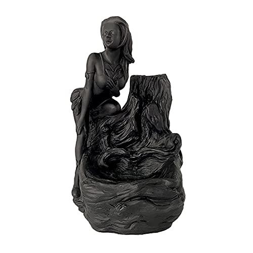 FLAMEER Quemador de cascada de incienso de estatua femenina, soporte de incienso de humo de reflujo de decoración, incensario de humo inverso de aromaterapia