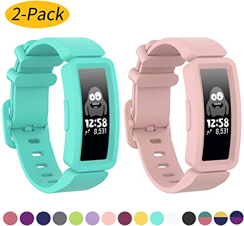 Cobar Compatible with Fitbit Ace 2 Bands for Kids 6+, Soft Silicone Bracelet Accessories Watch Band Repalcement Strap, Colorful Sport Wristbands for Fitbit Ace 2/ Inspire HR for Boys Girls