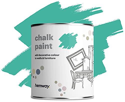 Hemway - Pintura de tiza para pared y muebles (1 L, 36 colores disponibles) (1 L), color turquesa