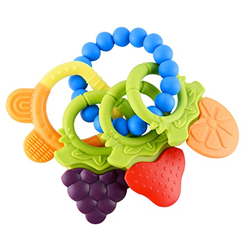 Baby Teething Toys 4 PCS BPA Free Silicone Baby Teethers, Freezer Safe Organic Infant Teething Toys Soft & Textured for Natural Brain Development