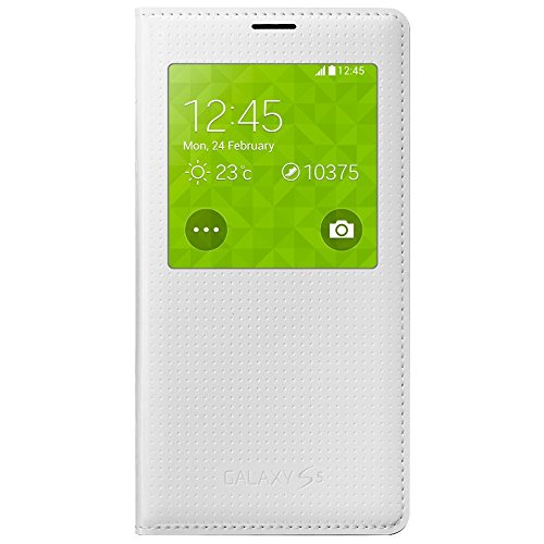 Samsung EF-CG900BHEGWW Flip Cover mit Sichtfenster in weiß schimmernd Galaxy S5