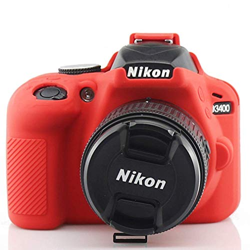 First2savvv Soft Silicone Armor Skin Rubber Protective Camera Case for Nikon D3400 TJ-D3400-GJ-red
