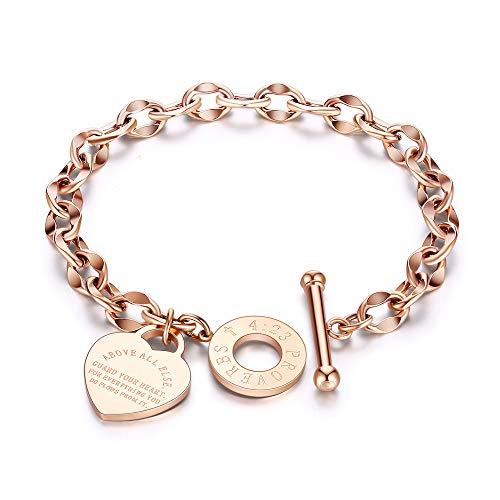 KKVK Titanium Stahl Kette & link weibliche armbänder armreif schmuck o-Kette Liebe Bibel sprüche Armband b one Size
