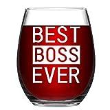 Best Boss Ever Stemless Wine Glass, Boss Wine Glass Gift for Boss, Manger, Women Men Bosses - Gift Idea Birthday, Bosses Day, Christmas, Retirement, Job Leaving, 15Oz