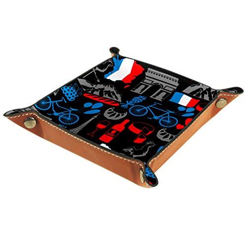 Bandeja de valet, organizador de escritorio, caja de almacenamiento, cuero, Francia, patrón sin costuras, símbolos tradicionales franceses, bandeja de recogida para uso doméstico