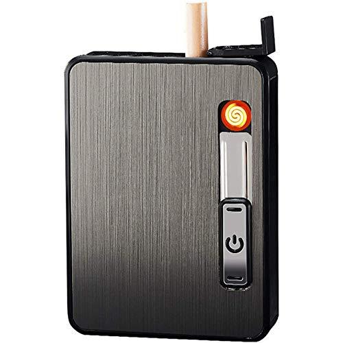 OUUUKL Aluminio Caja Cigarrillo, Pitillera con Encendedor 2 en 1 Recargable sin Llama Resistente al Viento Encendedor Eléctrico, Caben 10 Cigarrillos