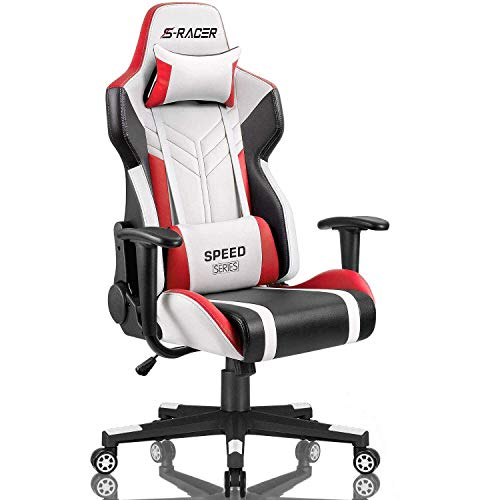 Homall Gaming Chair Racing Style High-Back PU Leather Office Chair Computer Desk Chair Executive and Ergonomic Swivel Chair with Headrest and Lumbar Support (White/Red)
