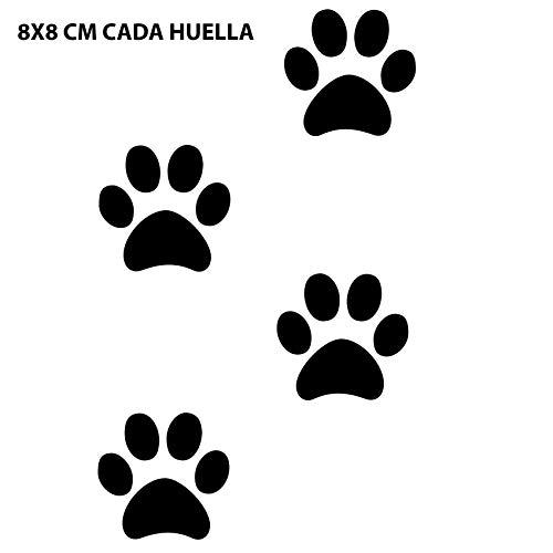 Custom Vinyl Pegatinas de Vinilo Huellas de Perro 8 Unidades (Negro)