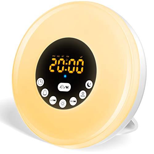 StillCool Wake Up Licht, Lichtwecker Tageslichtwecker Wecker mit licht Sonnenaufgang Simulation Dämmerung Fading Nachtlicht mit Natur Sounds, FM Radio, Touch Contro (Warmweiß)