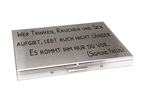 International Connection Zigarettenetui 100er Länge aus Edelstahl mattiert Gravur personalisiertes Geschenk