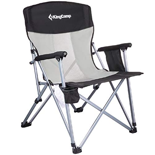 KingCamp Camping Chair Mesh High Back Hard Arm with Cup Holder Armrest Pocket Headrest Breathable Folding Portable Oversize Heavy Duty, Supports 300 lbs