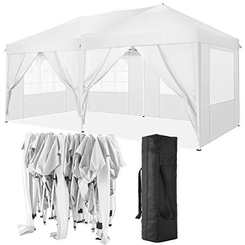 TOOLUCK 3x6m Carpas Plegables Impermeable Cenadores para Jardin Carpa Playa Protección UV con 6 Paneles Laterales, Toldos Exterior Terraza para Jardín Fiesta etc, 3x6m , Blanco