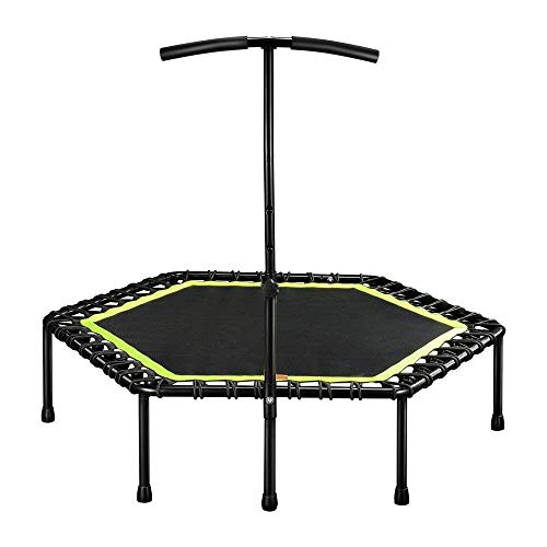 IRIS Fitness 45 inch Mini Trampoline with Adjustable Handrail Handle Bar – Indoor Rebounder for Adults – Best Urban Cardio Workout Home Trainer, Covered Bungee Rope System – Max Limit 120 kgs