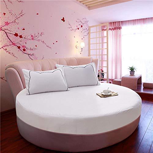 HPPSLT Protector de colchón/Cubre colchón Acolchado de Fibra antiácaros, Transpirable, Cama Redonda de algodón Color sólido Engrosamiento-Blanco 1_1.6m