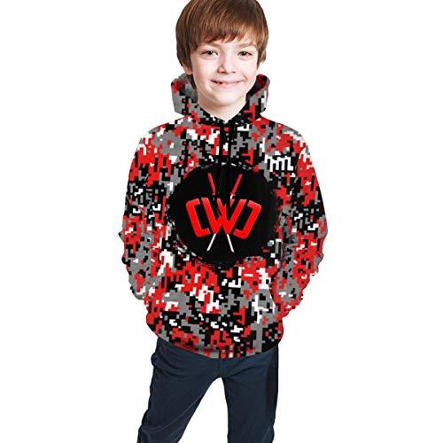maichengxuan Kids Chad Wild Clay CWC Gamer Flame 3D Print Hoodie Sweatshirts Videospiel Jungen und Mädchen Gr. 7-8 Jahre, schwarz 1