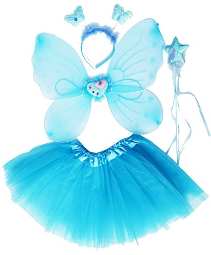 Fun Play - Disfraz de Hada para niñas - Alas de Mariposa, Tutú, Varita Mágica y Diadema - Disfraz de Mariposa o Ángel con Alas para niñas de 3-8 años - Color Aguamarina