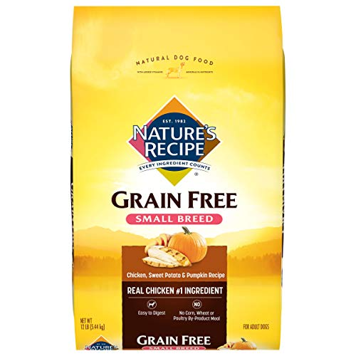 Nature's Recipe Grain Free Small Breed Dry Dog Food, Chicken, Sweet...