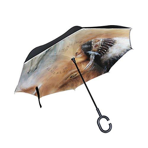 jstel Double Layer seitenverkehrt Airbrush Zwei weiß Pferd Regenschirm Cars Rückseite winddicht Regen Regenschirm für Auto Outdoor mit C geformter Griff