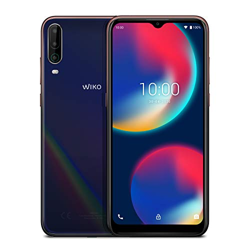 WIKO VIEW4 Smartphone, 5000 mAh Akku, 6,52 Zoll (16,5 cm), Dreifach-Kamera, 64GB + 3GB, Dual-SIM, Android 10, Cosmic Blue