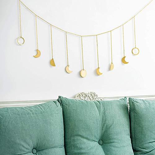 YUEMA Dekoration Mond Phase Girlande mit Ketten Wandbehang Wanddekoration Ornamente Original Boho Gold Glänzende Wandbehang Art Room Decor für Hochzeit Home Büro (A Gold)