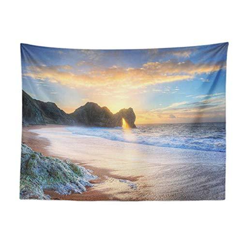 Paysage Photo Tapisserie Coucher Du Soleil Océan Plage Salon Chambre Décoratif Tenture Murale Extérieur Polyester Couverture 150 * 200 Cm