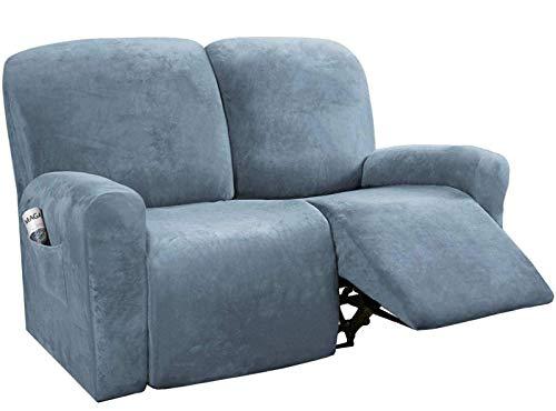 BANNAB Fundas de Terciopelo para Silla reclinable, Fundas para sofá de 6 Piezas, Funda reclinable, Protector de Muebles, Bolsillo Lateral, Apto para Sala de Estar, Azul