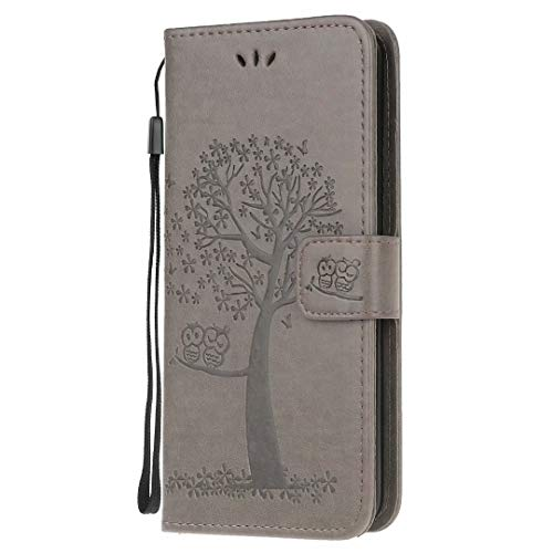 for Xiaomi Poco X3 NFC/Poco X3 Case, PU Leather Shockproof Notebook Wallet Phone Case Owl Tree with Kickstand Card Slots Magnetic Soft TPU Bumper Flip Folio Protective Cover grey