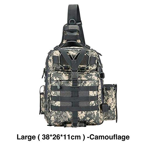 Pêche Sac Tackle Nylon imperméable 2 Tailles épaule Unique Sac à Dos Poitrine Main d'extérieur Camping Randonnée Portable (Color : Large Camouflage, Size : Other)