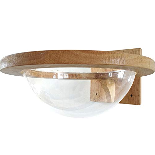 TINTON LIFE Wall-Mounted Wooden Cat Space Clear Capsule Cat...