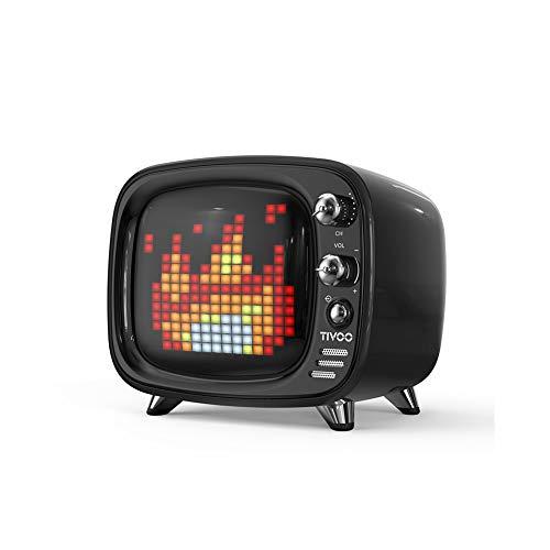WHALLO Girl Heart Pixel TV Altavoz Bluetooth Mini Lindo Reloj Despertador Altavoz Regalo de cumpleaños para compañeros de Clase y colegas