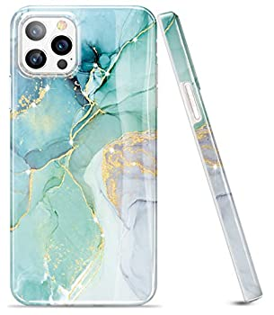 luolnh Gold Glitter Sparkle Case Compatible with iPhone 12 Pro Max Case 6.7 Inch Marble Design Shockproof Soft Silicone Rubber TPU Bumper Cover Skin Phone Case-Abstract Mint