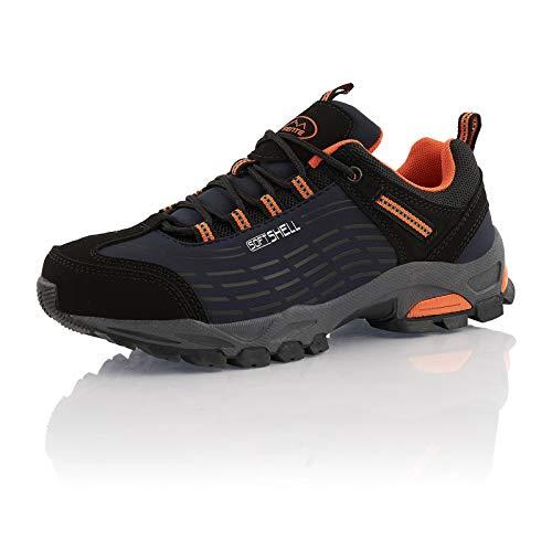 Fusskleidung® Wanderschuhe Damen Herren atmungsaktive Trekkingschuhe leichte Outdoorschuhe Blau Blau Orange EU 49