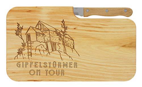 meinbecher Brotzeitbrett Jausenbrett Holz Erle Messer GIPFELSTÜRMER ON Tour Geschenk Männer Frauen Schneidbrett Holz Geschenkidee für Ihn & Sie