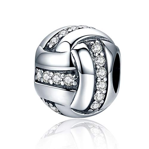 FeatherWish I Love My Sports Football Ball Soccer Pendant Bead 925 Sterling Silver Charm Compatible With Pandora Bracelet Or Necklace (Clear Cubic Zirconia)
