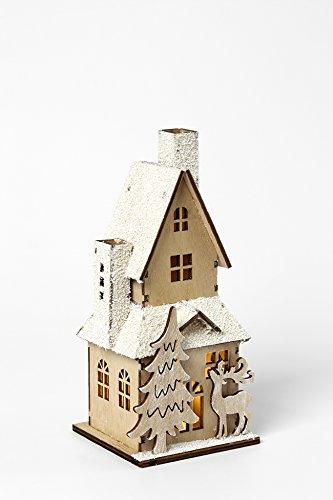 HEITMANN DECO dekoratives Holzhaus mit LED-Beleuchtung - naturbelassenes Holz mit beschneitem Dach - Weihnachtsdeko