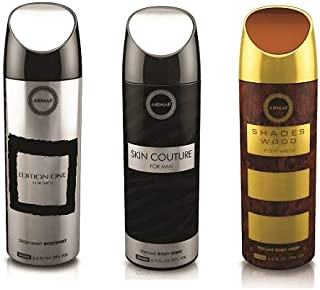 Armaf 3 pc Perfume Body Spray Non Alcoholic 6.6 oz Skin Couture/Shades Wood/Edition One For Men