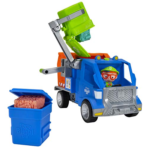 Blippi Recycling Truck - Includes Character Toy Figure, Working Lever, 2 Trash Cubes, 2 Recycling Bins - Sing Along with Popular Catchphrases - Educational Toys for Kids - Amazon Exclusive