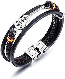 Men's Titanium Steel Guitar Braided Leather Bracelet Bangles Retro Multi-layer Jewelry