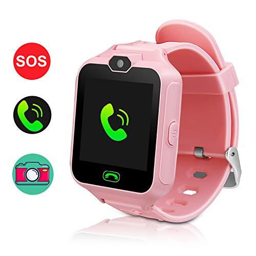 TTHO Smartwatch für Kinder, Smartwatch für Mädchen Jungen, Handyuhr, Kamera SOS-Wecker, Smartwatch für Kinder, Mädchen, Jungen, Geburtstag, tolles Geschenk. Pink Rose