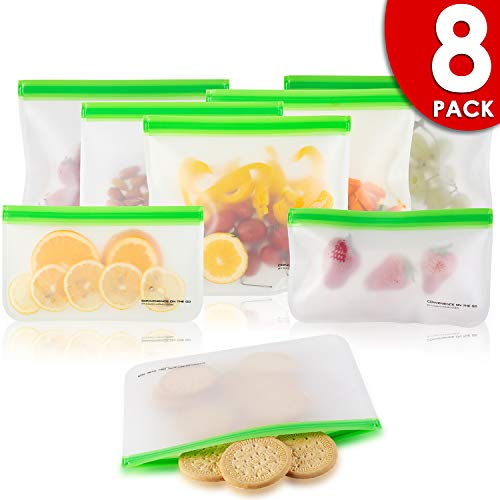 Reusable Storage Bags (8 Pack) Silicone and Plastic Free Ziplock for Food, Lunch Sandwich   Small Kids Snack Size, Travel Baggies and More   Bag with Zipper and seal Lock Top Freezer Safe