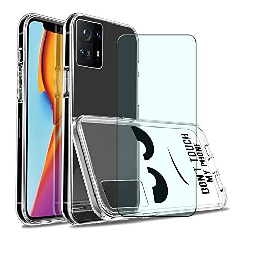 HJJS 2 Pack Transparente Funda + Protector de Pantalla para Xiaomi Mix 4 (6.67 Pulgada),Silicone Carcasa Case,Suave Bumper Anti Rasguño Cover Caso,para Xiaomi Mix 4 Cristal Templado - HJA1