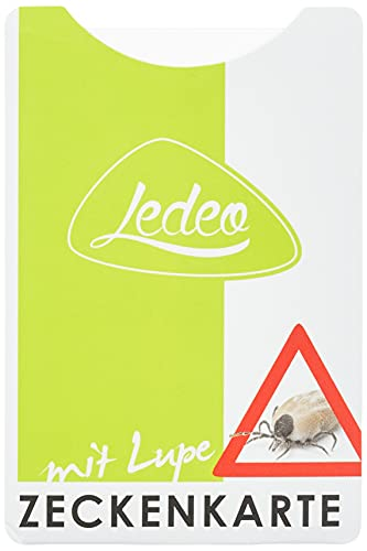 Zeckenkarte mit Lupe, Hülle und Kurzbeschreibung