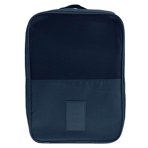 Extsud Organizer da Viaggio per Scarpe, Portascarpe Impermeabile in Nylon, Organizzatore Valigia Portatile con Maniglia, Custodia Borsa da Viaggio Fino a 3 Paia Scarpe, 29*21,5cm (Blu Scuro)